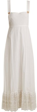 Sunday Morning Pinafore Embroidered-cotton Dress - Womens - Ivory