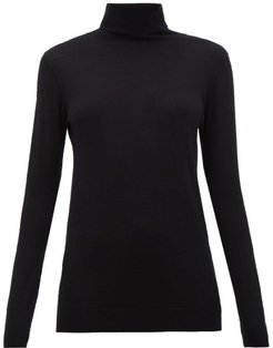 Roll-neck Fine-knit Cashmere Sweater - Womens - Black