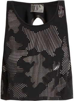 Lumen Perforated Front Jersey Cropped Top - Womens - Black