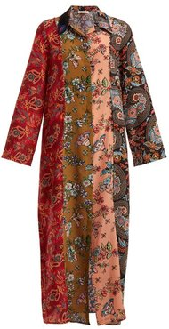 Augustina Panelled Silk Crepe Dress - Womens - Red Multi