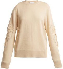 Timeless Distressed Sleeve Cashmere Sweater - Womens - Beige