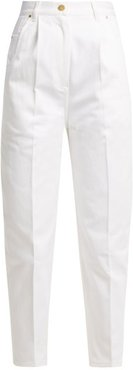 High Rise Cotton Jeans - Womens - White