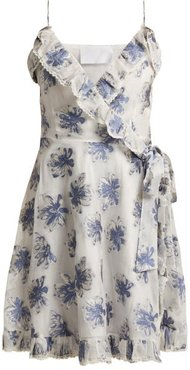 In The Hills Floral Brocade Wrap Dress - Womens - White Multi