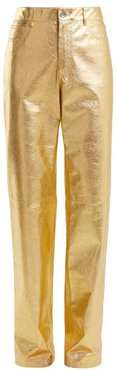 Straight-leg Leather Trousers - Womens - Gold