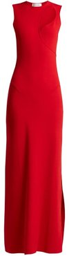 Cut Out Stretch Knit Dress - Womens - Red