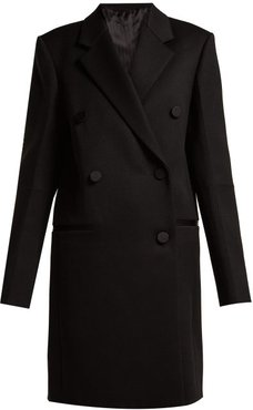 Double Breasted Wool Blend Coat - Womens - Black