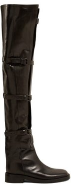 Buckled Over The Knee Leather Boots - Womens - Black