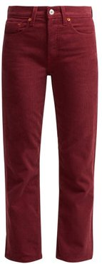 High Rise Stovepipe Corduroy Jeans - Womens - Burgundy