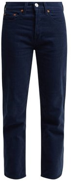 High Rise Stovepipe Corduroy Jeans - Womens - Navy