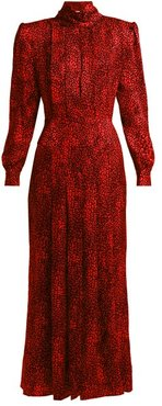 Leopard-jacquard Silk Dress - Womens - Red Multi