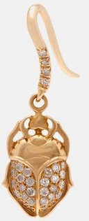 18kt Gold And Diamond Scarab Single Earring - Womens - Gold