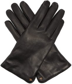 Bee Motif Leather Gloves - Mens - Black