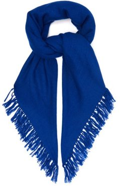 Zila Cashmere And Wool Blend Frayed Scarf - Womens - Navy