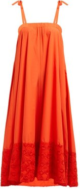 Floral-embroidered Cotton Dress - Womens - Orange