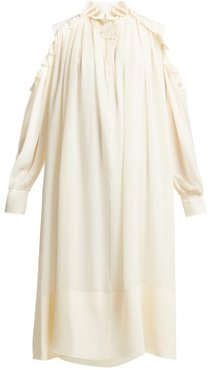 Ruffled Cut-out Shoulder Silk-georgette Midi Dress - Womens - Ivory