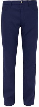 Mid Rise Twill Trousers - Mens - Navy
