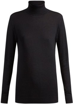 Roll-neck Fine-knit Cashmere Sweater - Womens - Navy