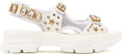 Crystal-embellished Leather And Mesh Sandal - Womens - White