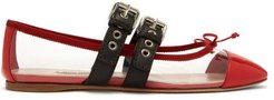 Buckle Fastening Plexi And Leather Ballet Flats - Womens - Red