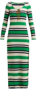 Striped Ribbed-jersey Dress - Womens - Green Stripe