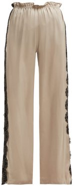 Lace Trimmed Trousers - Womens - Beige