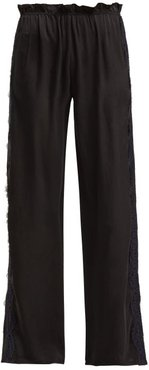 Lace Trimmed Silk Trousers - Womens - Black