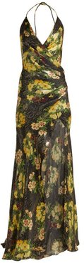 Scarface Floral-print Silk-blend Dress - Womens - Black Yellow