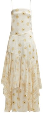 Frida Dandelion-print Silk-blend Satin Dress - Womens - Ivory Multi