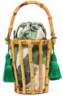 Lineia Leaf Print Canvas And Bamboo Cage Bag - Womens - Green Multi