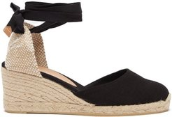 Carina 60 Canvas & Jute Espadrille Wedges - Womens - Black