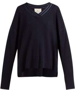 V Neck Cashmere Sweater - Womens - Navy