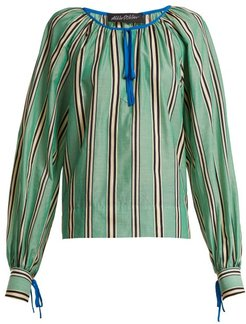 Stripe Printed Round Neck Cotton Blouse - Womens - Green