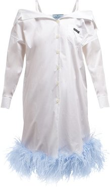 Feather Trimmed Off The Shoulder Cotton Shirtdress - Womens - White Multi