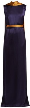 Electra Draped Satin Gown - Womens - Navy Multi