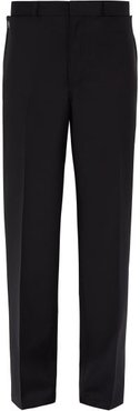 Press-stud Pocket Wool And Mohair-blend Trousers - Mens - Black