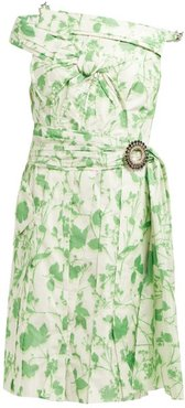 Crystal-buckle Floral-print Taffeta Dress - Womens - Green White