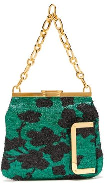 5am Floral Lamé Clutch - Womens - Black Green