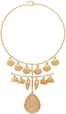 Panama Shell And Crystal 18kt Gold Plated Necklace - Womens - Gold