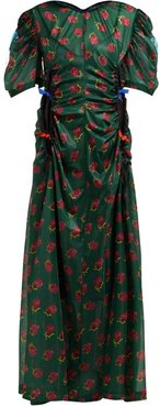 Floral-print Ruched Cut-out Maxi Dress - Womens - Green Print