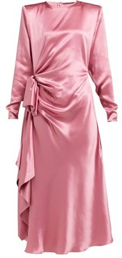 Gathered Silk-charmeuse Midi Dress - Womens - Pink