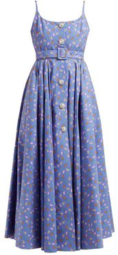 Tropical-print Crystal-embellished Cotton Dress - Womens - Blue Multi