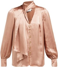 Astrid Neck Scarf Hammered Silk Blouse - Womens - Camel