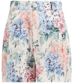Bloom Floral Print Linen Shorts - Womens - Blue Print