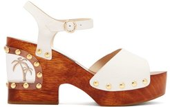 Paradise Palm-tree Leather Clogs - Womens - White