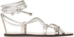 Aziza Wrap-around Leather Sandals - Womens - Silver