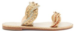 Normandie Braided-strap Leather Slides - Womens - Gold