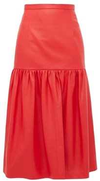 Gathered Leather Midi Skirt - Womens - Red