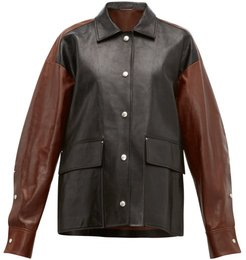 Colour Block Leather Jacket - Womens - Black Brown
