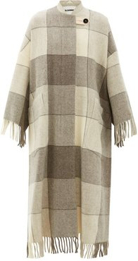 Checked And Tassel-trimmed Wool Cape Coat - Womens - Ivory Multi