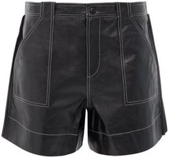 Topstitched Leather Shorts - Womens - Black